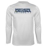 Syntrel Performance White Longsleeve Shirt-Northern Arizona University Stacked