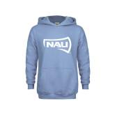 Youth Light Blue Fleece Hoodie-NAU Primary Mark