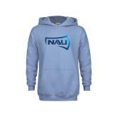 Youth Light Blue Fleece Hoodie-NAU Primary Mark Foil