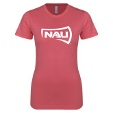 Next Level Ladies SoftStyle Junior Fitted Pink Tee-NAU Primary Mark
