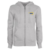 ENZA Ladies Grey Fleece Full Zip Hoodie-NAU Lumberjacks