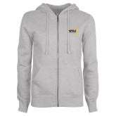 ENZA Ladies Grey Fleece Full Zip Hoodie-NAU Lumberjacks