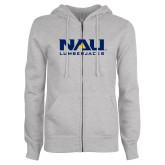 ENZA Ladies Grey Fleece Full Zip Hoodie-NAU Lumberjacks Stacked