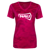 Ladies Pink Raspberry Camohex Performance Tee-NAU Primary Mark