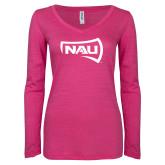 ENZA Ladies Hot Pink Long Sleeve V Neck Tee-NAU Primary Mark