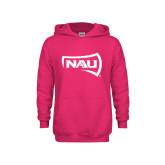 Youth Raspberry Fleece Hoodie-NAU Primary Mark