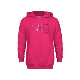 Youth Raspberry Fleece Hoodie-NAU Primary Mark Foil
