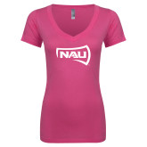 Next Level Ladies Junior Fit Ideal V Pink Tee-NAU Primary Mark