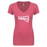 Next Level Ladies Vintage Pink Tri Blend V-Neck Tee-NAU Primary Mark
