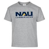 Youth Grey T-Shirt-NAU Lumberjacks Stacked