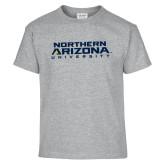 Youth Grey T-Shirt-Northern Arizona University Stacked