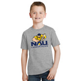 Youth Grey T-Shirt-NAU Lumberjacks with Louie