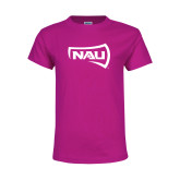 Youth Cyber Pink T Shirt-NAU Primary Mark