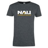 Ladies Dark Heather T Shirt-NAU Lumberjacks Stacked