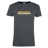Ladies Dark Heather T Shirt-Northern Arizona University Stacked