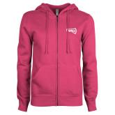 ENZA Ladies Fuchsia Fleece Full Zip Hoodie-NAU Primary Mark