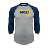 Grey/Navy Raglan Baseball T Shirt-NAU Primary Mark