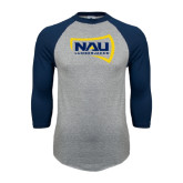 Grey/Navy Raglan Baseball T Shirt-NAU Lumberjacks