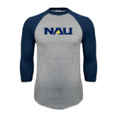 Grey/Navy Raglan Baseball T Shirt-NAU