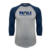 Grey/Navy Raglan Baseball T Shirt-NAU Lumberjacks Stacked