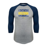 Grey/Navy Raglan Baseball T Shirt-Northern Arizona Lumberjacks Stacked