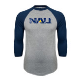 Grey/Navy Raglan Baseball T Shirt-NAU Distressed