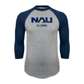Grey/Navy Raglan Baseball T Shirt-Alumni