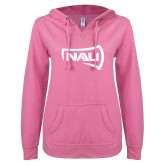 ENZA Ladies Hot Pink V Notch Raw Edge Fleece Hoodie-NAU Primary Mark