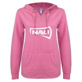 ENZA Ladies Hot Pink V Notch Raw Edge Fleece Hoodie-NAU Primary Mark