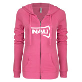 ENZA Ladies Hot Pink Light Weight Fleece Full Zip Hoodie-NAU Primary Mark