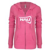 ENZA Ladies Hot Pink Light Weight Fleece Full Zip Hoodie-NAU Primary Mark