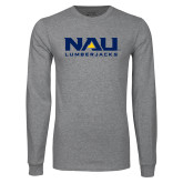 Grey Long Sleeve T Shirt-NAU Lumberjacks Stacked