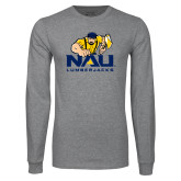 Grey Long Sleeve T Shirt-NAU Lumberjacks with Louie