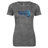 Next Level Ladies Junior Fit Dark Grey Burnout Tee-NAU Primary Mark Foil