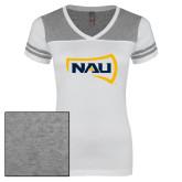 Ladies White/Heathered Nickel Juniors Varsity V Neck Tee-NAU Primary Mark