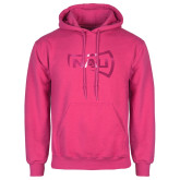 Fuchsia Fleece Hoodie-NAU Primary Mark Foil