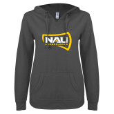ENZA Ladies Dark Heather V Notch Raw Edge Fleece Hoodie-NAU Lumberjacks