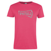 Ladies Fuchsia T Shirt-NAU Primary Mark Rhinestones