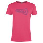 Ladies Fuchsia T Shirt-NAU Primary Mark Rhinestones
