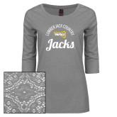 Ladies Grey Heather Tri Blend Lace 3/4 Sleeve Tee-Lumber Jack Country