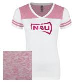Ladies White/Bright Pink Juniors Varsity V Neck Tee-NAU Primary Mark Foil