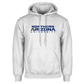 White Fleece Hoodie-Northern Arizona University Stacked