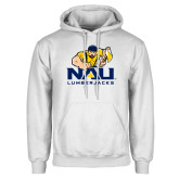 White Fleece Hoodie-NAU Lumberjacks with Louie