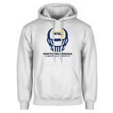 White Fleece Hoodie-Football Helmet Design