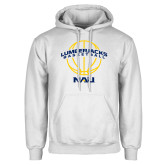 White Fleece Hoodie-Basketball Ball Design