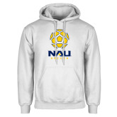 White Fleece Hoodie-Soccer Ball Design