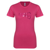Ladies SoftStyle Junior Fitted Fuchsia Tee-NAU Primary Mark Foil