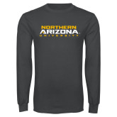 Charcoal Long Sleeve T Shirt-Northern Arizona University Stacked