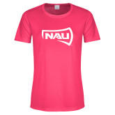 Ladies Performance Hot Pink Tee-NAU Primary Mark