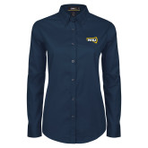 Ladies Navy Twill Button Down Long Sleeve-NAU Primary Mark
